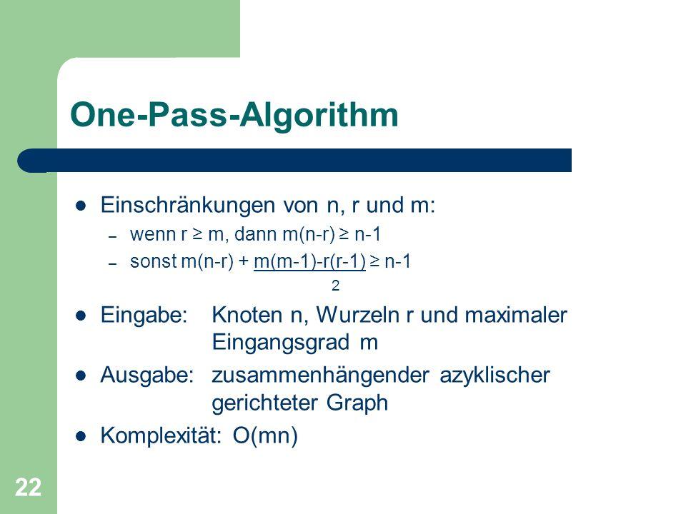22 One-Pass-Algorithm Einschränkungen von n, r und m: – wenn r m, dann m(n-r) n-1 – sonst m(n-r) + m(m-1)-r(r-1) n-1 2 Eingabe: Knoten n, Wurzeln r un