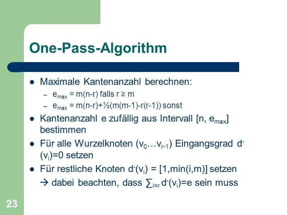 23 One-Pass-Algorithm Maximale Kantenanzahl berechnen: – e max = m(n-r) falls r m – e max = m(n-r)+½(m(m-1)-r(r-1)) sonst Kantenanzahl e zufällig aus