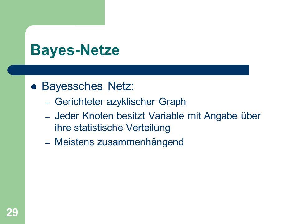 29 Bayes-Netze Bayessches Netz: – Gerichteter azyklischer Graph – Jeder Knoten besitzt Variable mit Angabe über ihre statistische Verteilung – Meisten