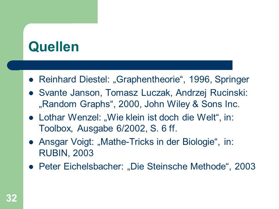 32 Quellen Reinhard Diestel: Graphentheorie, 1996, Springer Svante Janson, Tomasz Luczak, Andrzej Rucinski: Random Graphs, 2000, John Wiley & Sons Inc