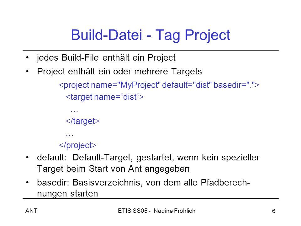 ETIS SS05 - Nadine FröhlichANT 6 Build-Datei - Tag Project jedes Build-File enthält ein Project Project enthält ein oder mehrere Targets … … default: Default-Target, gestartet, wenn kein spezieller Target beim Start von Ant angegeben basedir: Basisverzeichnis, von dem alle Pfadberech- nungen starten