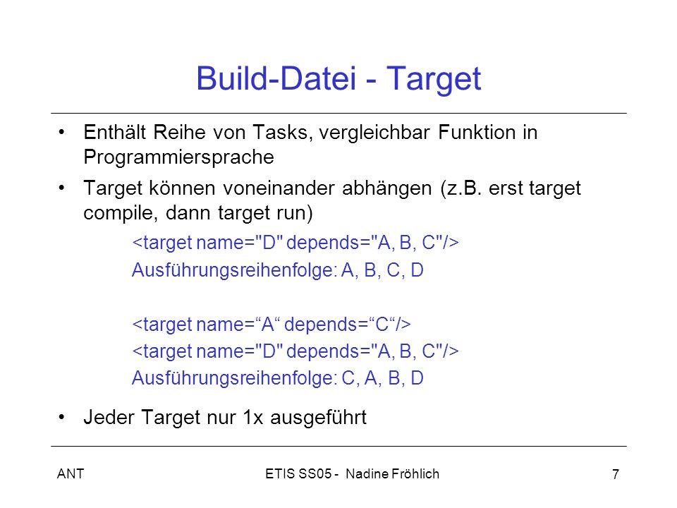 ETIS SS05 - Nadine FröhlichANT 7 Build-Datei - Target Enthält Reihe von Tasks, vergleichbar Funktion in Programmiersprache Target können voneinander a