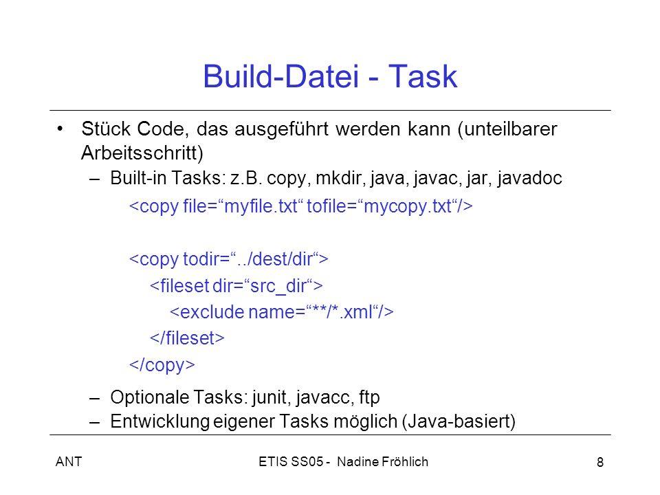 ETIS SS05 - Nadine FröhlichANT 8 Stück Code, das ausgeführt werden kann (unteilbarer Arbeitsschritt) –Built-in Tasks: z.B. copy, mkdir, java, javac, j