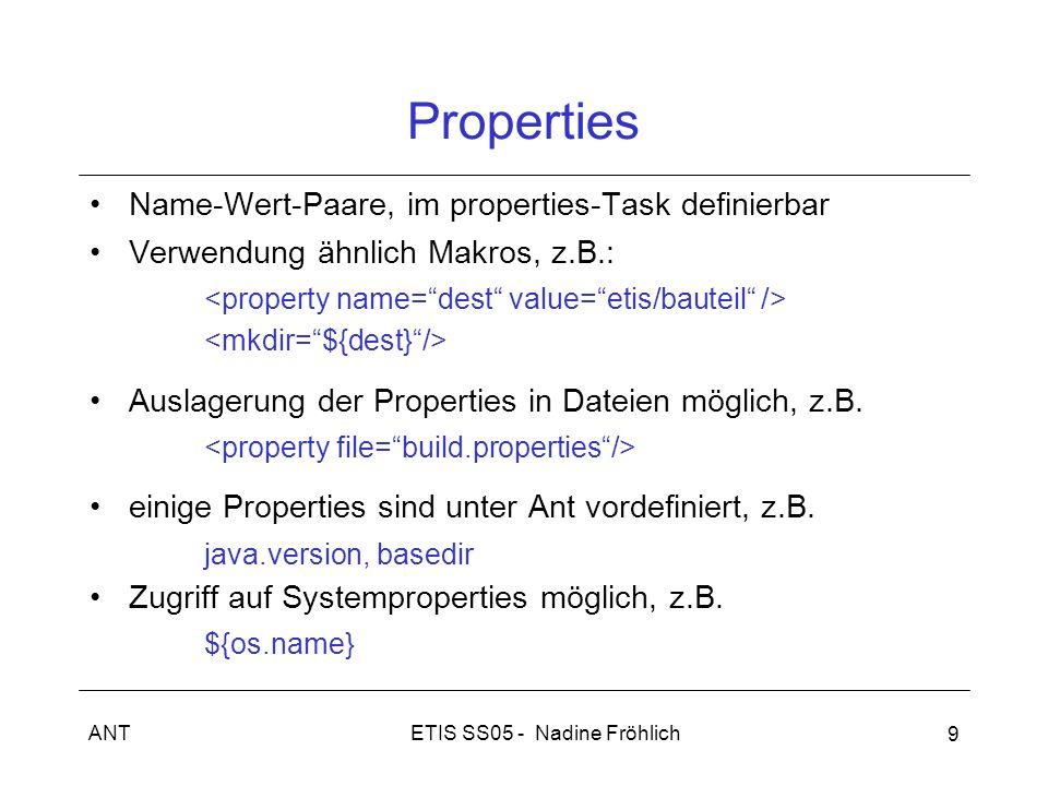 ETIS SS05 - Nadine FröhlichANT 9 Properties Name-Wert-Paare, im properties-Task definierbar Verwendung ähnlich Makros, z.B.: Auslagerung der Propertie