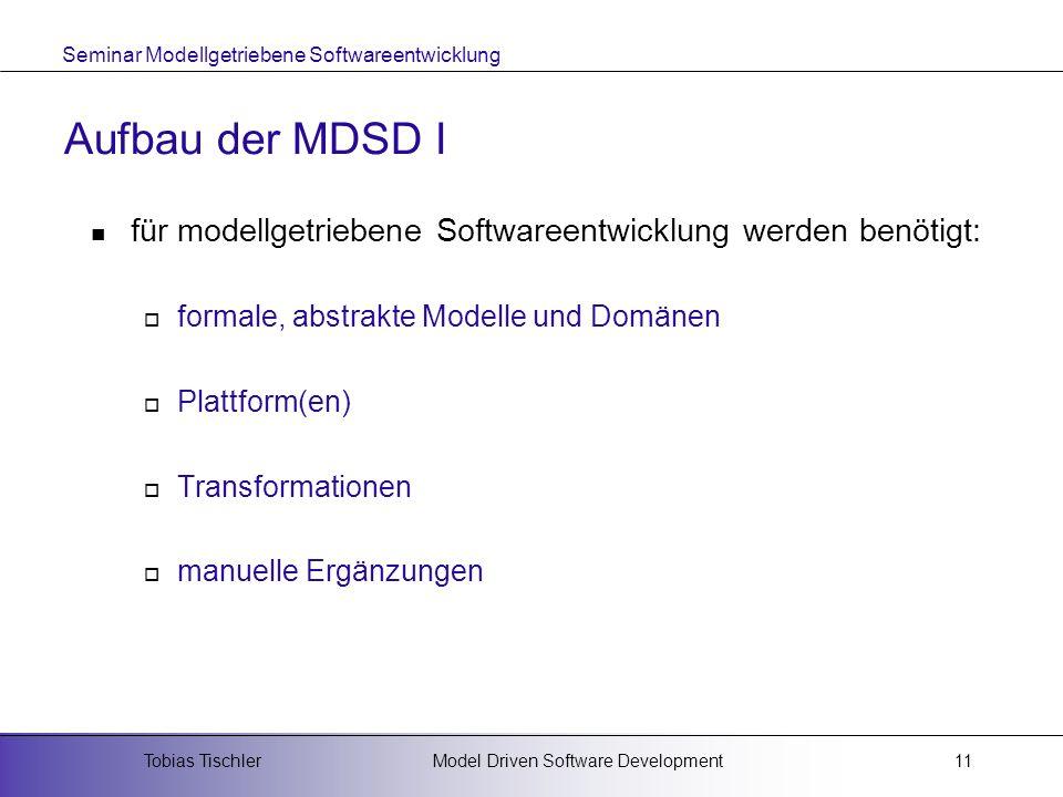 Seminar Modellgetriebene Softwareentwicklung Model Driven Software DevelopmentTobias Tischler11 Aufbau der MDSD I für modellgetriebene Softwareentwick
