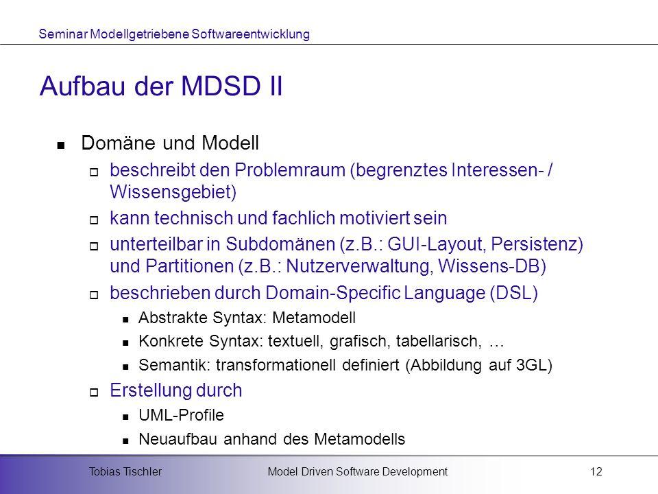 Seminar Modellgetriebene Softwareentwicklung Model Driven Software DevelopmentTobias Tischler12 Aufbau der MDSD II Domäne und Modell beschreibt den Pr