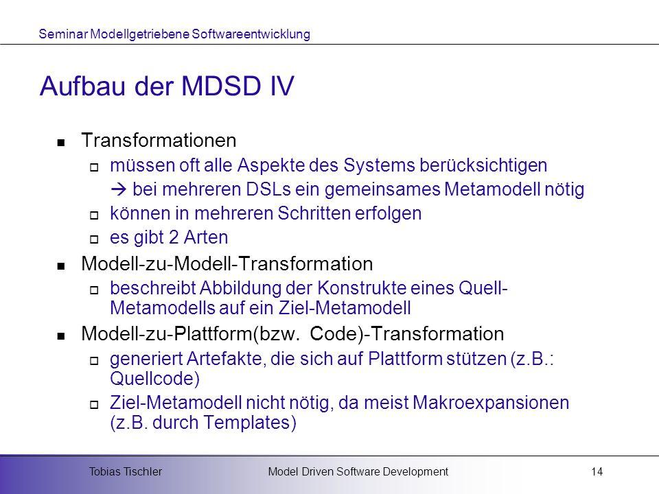 Seminar Modellgetriebene Softwareentwicklung Model Driven Software DevelopmentTobias Tischler14 Aufbau der MDSD IV Transformationen müssen oft alle As