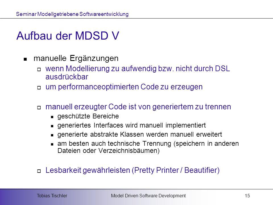 Seminar Modellgetriebene Softwareentwicklung Model Driven Software DevelopmentTobias Tischler15 Aufbau der MDSD V manuelle Ergänzungen wenn Modellieru