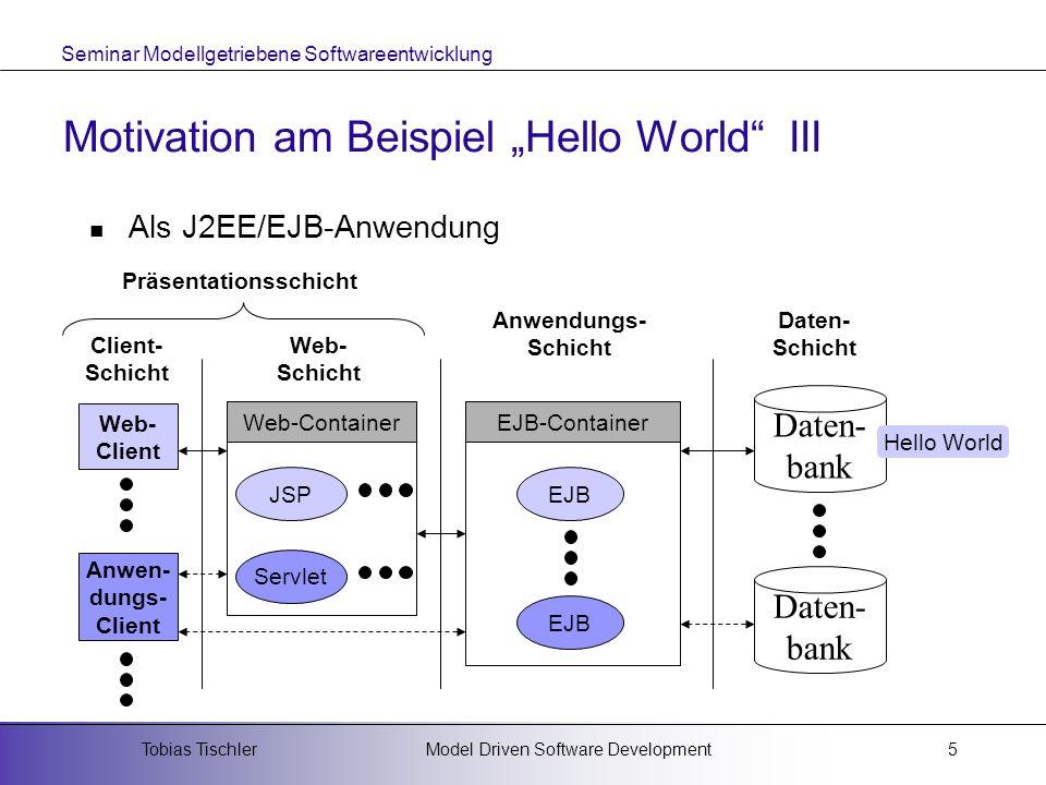 Seminar Modellgetriebene Softwareentwicklung Model Driven Software DevelopmentTobias Tischler6 Motivation am Beispiel Hello World IV Als J2EE/EJB-Anwendung Installation der EJB-Infrastruktur Erzeugung der Bean Klasse Erzeugung der EJB-Schnittstellen Erzeugung der Meta-Informationen Kompilierung der EJB Packen der EJB Installation der EJB Erzeugung der Client-Applikation Kompilierung der Client-Applikation Starten der Anwendung Anwendungsschicht Client-Schicht