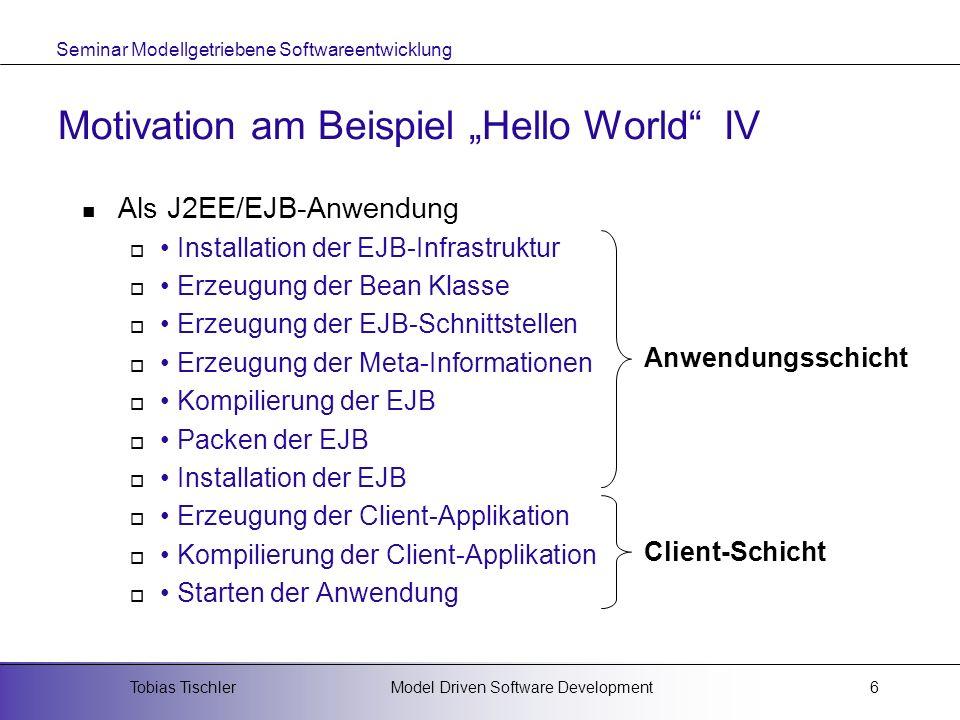 Seminar Modellgetriebene Softwareentwicklung Model Driven Software DevelopmentTobias Tischler7 Motivation am Beispiel Hello World V AssemblerHöhere ProgrammiersprachenModellierungssprachen Intel 4004 Intel 8080 Zilog Z80 etc.