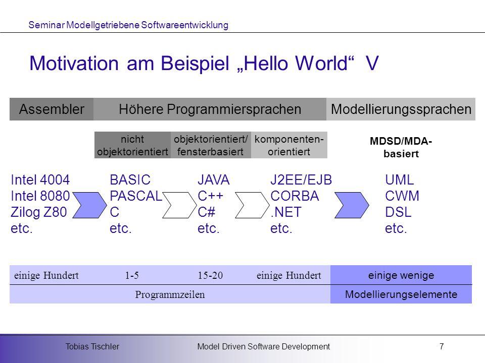 Seminar Modellgetriebene Softwareentwicklung Model Driven Software DevelopmentTobias Tischler18 Unterschiede zu MDA MDA ist eine Standardisierungsinitiative der OMG zum Thema MDSD Metamodell ist MOF DSL muss mit MOF definiert werden Präzisierung von Modellen mittels OCL (Object Constraint Language) bzw.