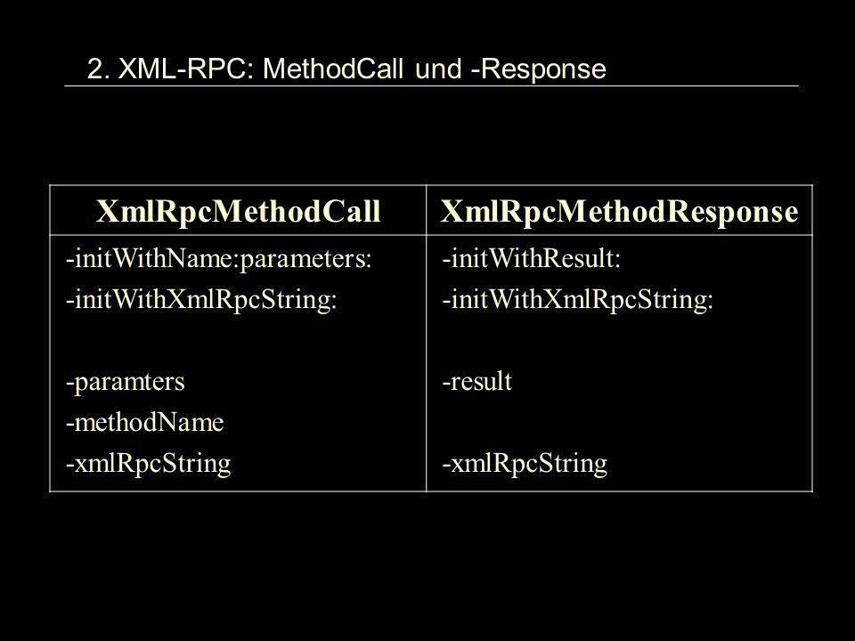 2. XML-RPC: MethodCall und -Response XmlRpcMethodCallXmlRpcMethodResponse -initWithName:parameters: -initWithXmlRpcString: -paramters -methodName -xml