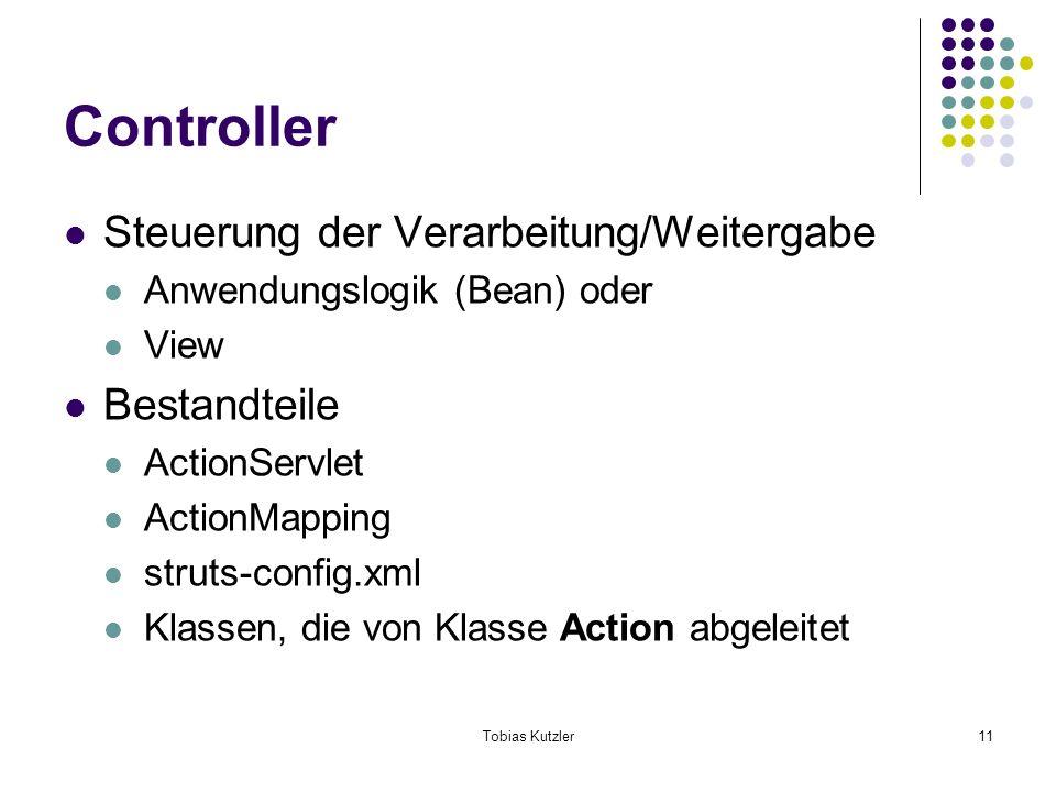 Tobias Kutzler11 Controller Steuerung der Verarbeitung/Weitergabe Anwendungslogik (Bean) oder View Bestandteile ActionServlet ActionMapping struts-config.xml Klassen, die von Klasse Action abgeleitet