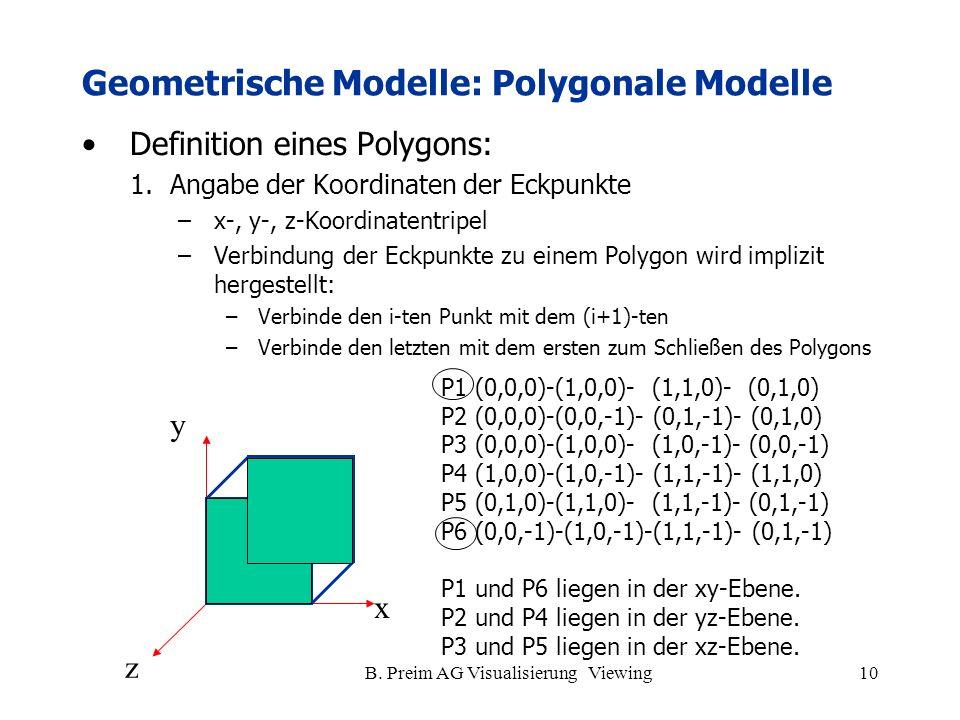 B. Preim AG Visualisierung Viewing10 Definition eines Polygons: 1.Angabe der Koordinaten der Eckpunkte –x-, y-, z-Koordinatentripel –Verbindung der Ec