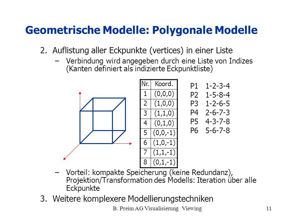 B. Preim AG Visualisierung Viewing11 2.Auflistung aller Eckpunkte (vertices) in einer Liste –Verbindung wird angegeben durch eine Liste von Indizes (K