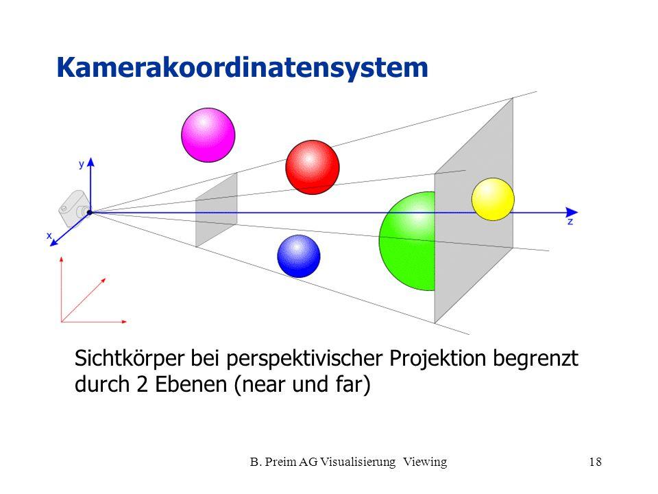 B. Preim AG Visualisierung Viewing18 Kamerakoordinatensystem Sichtkörper bei perspektivischer Projektion begrenzt durch 2 Ebenen (near und far)