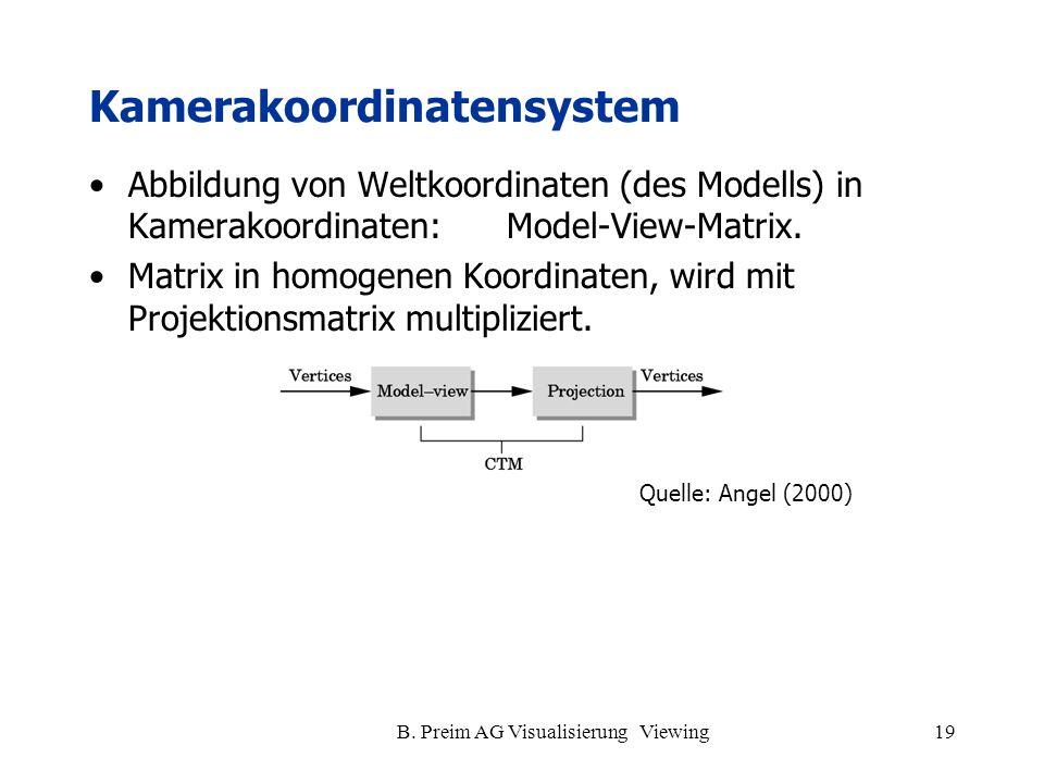 B. Preim AG Visualisierung Viewing19 Kamerakoordinatensystem Abbildung von Weltkoordinaten (des Modells) in Kamerakoordinaten: Model-View-Matrix. Matr