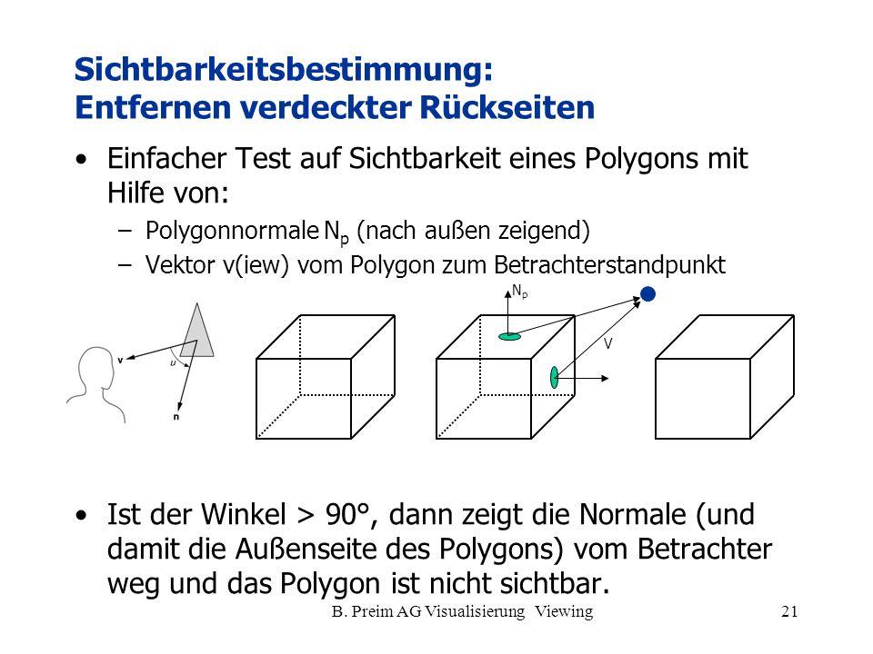 B. Preim AG Visualisierung Viewing21 Einfacher Test auf Sichtbarkeit eines Polygons mit Hilfe von: –Polygonnormale N p (nach außen zeigend) –Vektor v(