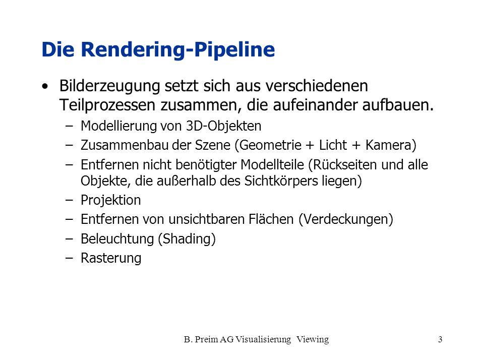 B. Preim AG Visualisierung Viewing3 Die Rendering-Pipeline Bilderzeugung setzt sich aus verschiedenen Teilprozessen zusammen, die aufeinander aufbauen
