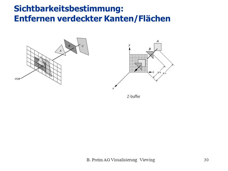 B. Preim AG Visualisierung Viewing30 Z-buffer Sichtbarkeitsbestimmung: Entfernen verdeckter Kanten/Flächen