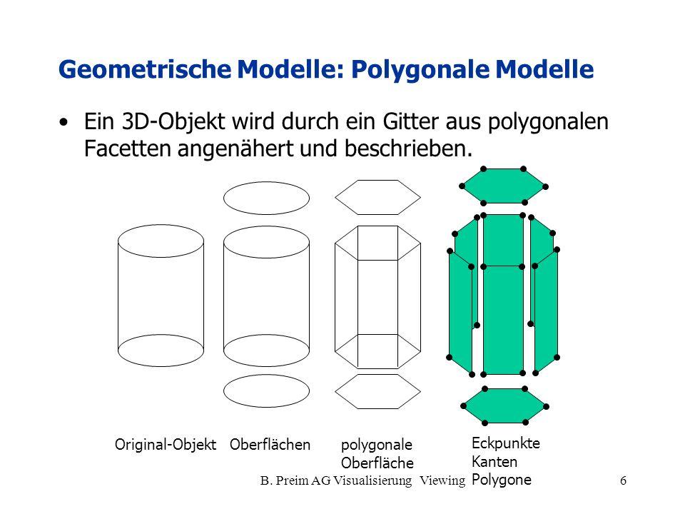 B. Preim AG Visualisierung Viewing6 Geometrische Modelle: Polygonale Modelle Ein 3D-Objekt wird durch ein Gitter aus polygonalen Facetten angenähert u