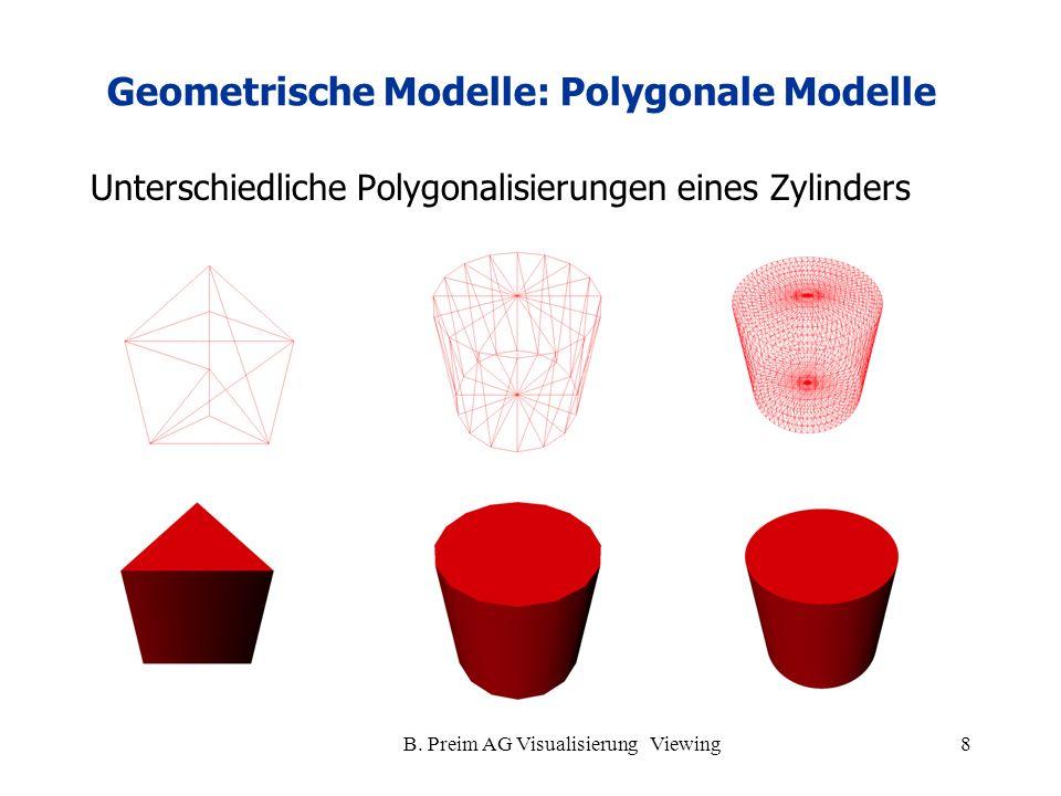 B. Preim AG Visualisierung Viewing8 Unterschiedliche Polygonalisierungen eines Zylinders Geometrische Modelle: Polygonale Modelle