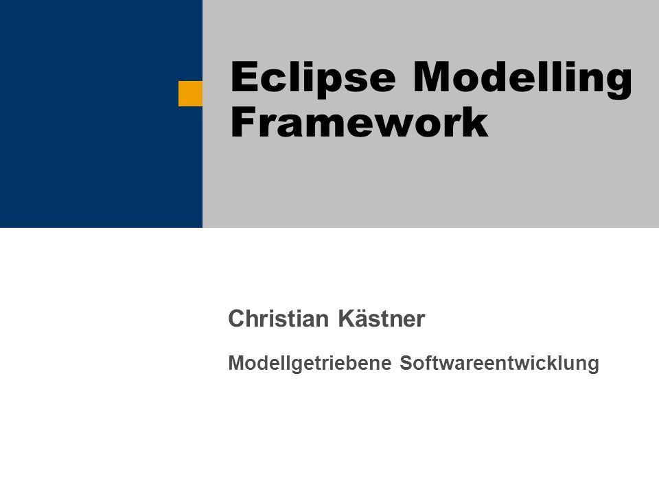 EMF / Christian Kästner / 12 Generierter Java-Code public class BookImpl extends EObjectImpl implements Book { [...] protected static final int PAGES_EDEFAULT = 0; protected int pages = PAGES_EDEFAULT; /** * @generated */ public int getPages() { return pages; } /** * @generated */ public void setPages(int newPages) { int oldPages = pages; pages = newPages; if (eNotificationRequired()) eNotify(new ENotificationImpl(this, Notification.SET, LibraryPackage.BOOK__PAGES, oldPages, pages)); } [...]
