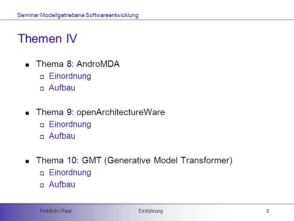 Seminar Modellgetriebene Softwareentwicklung EinführungFröhlich / Paul9 Erfolgreiches Abschließen des Seminars Folien nach vorgegebenen Style ca.