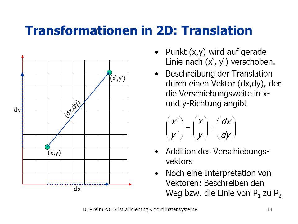 B. Preim AG Visualisierung Koordinatensysteme14 Transformationen in 2D: Translation Punkt (x,y) wird auf gerade Linie nach (x, y) verschoben. Beschrei