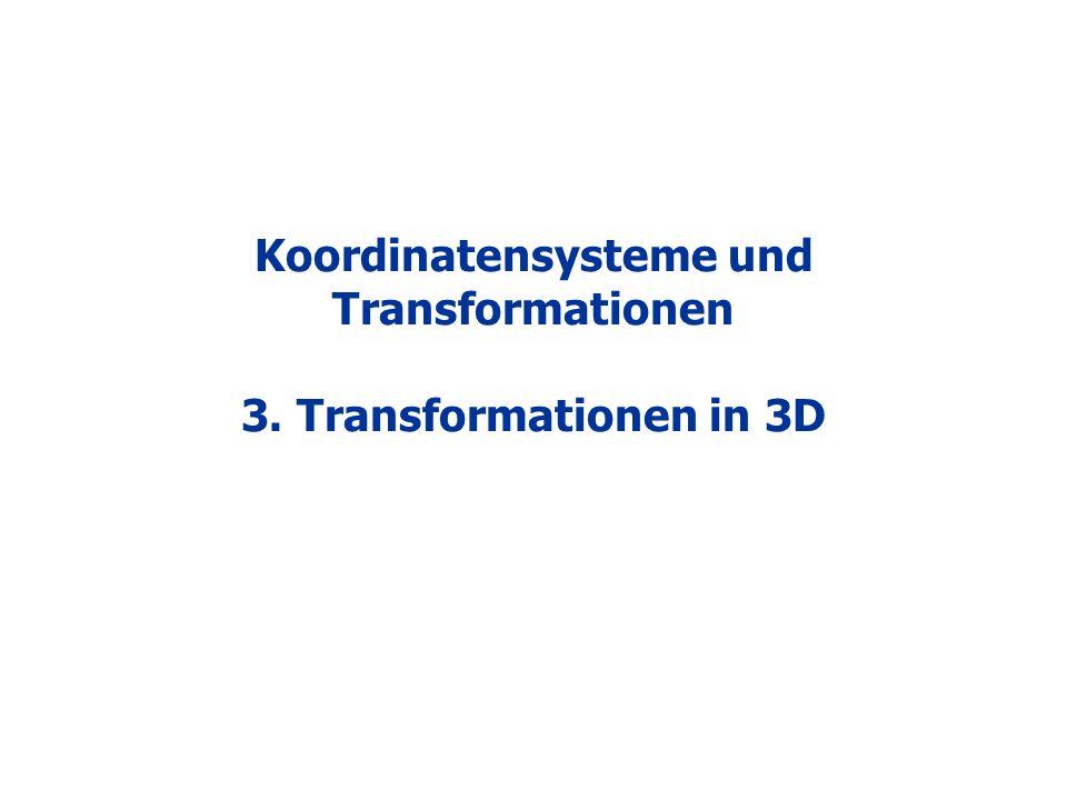 Koordinatensysteme und Transformationen 3. Transformationen in 3D
