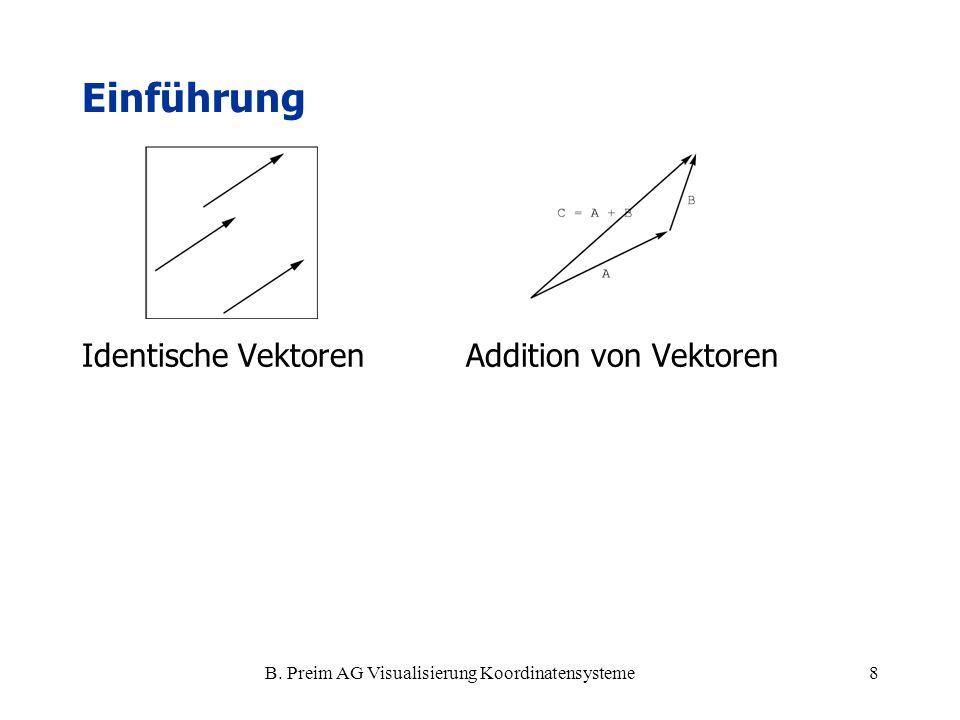 B. Preim AG Visualisierung Koordinatensysteme8 Identische Vektoren Addition von Vektoren Einführung