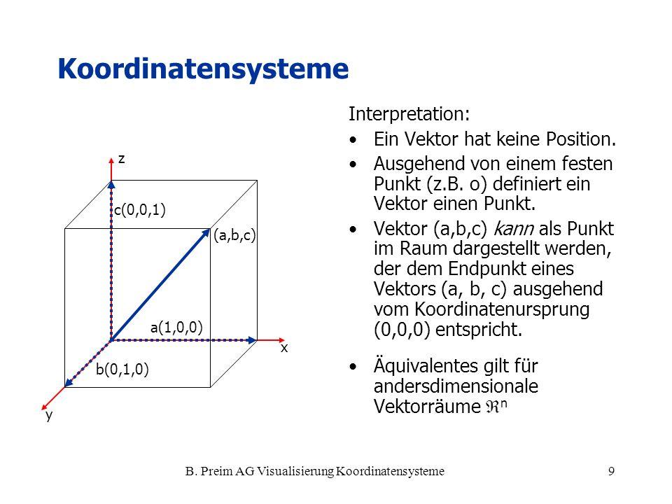B. Preim AG Visualisierung Koordinatensysteme9 x y z (a,b,c) a(1,0,0) b(0,1,0) c(0,0,1) Interpretation: Ein Vektor hat keine Position. Ausgehend von e