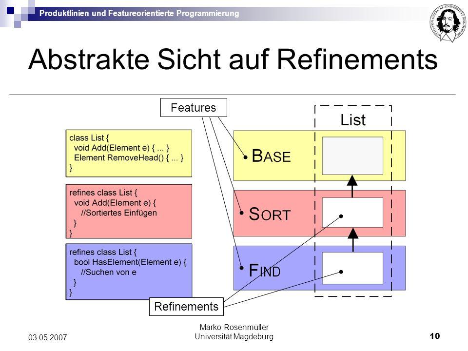 Produktlinien und Featureorientierte Programmierung Marko Rosenmüller Universität Magdeburg10 03.05.2007 Abstrakte Sicht auf Refinements Features Refinements