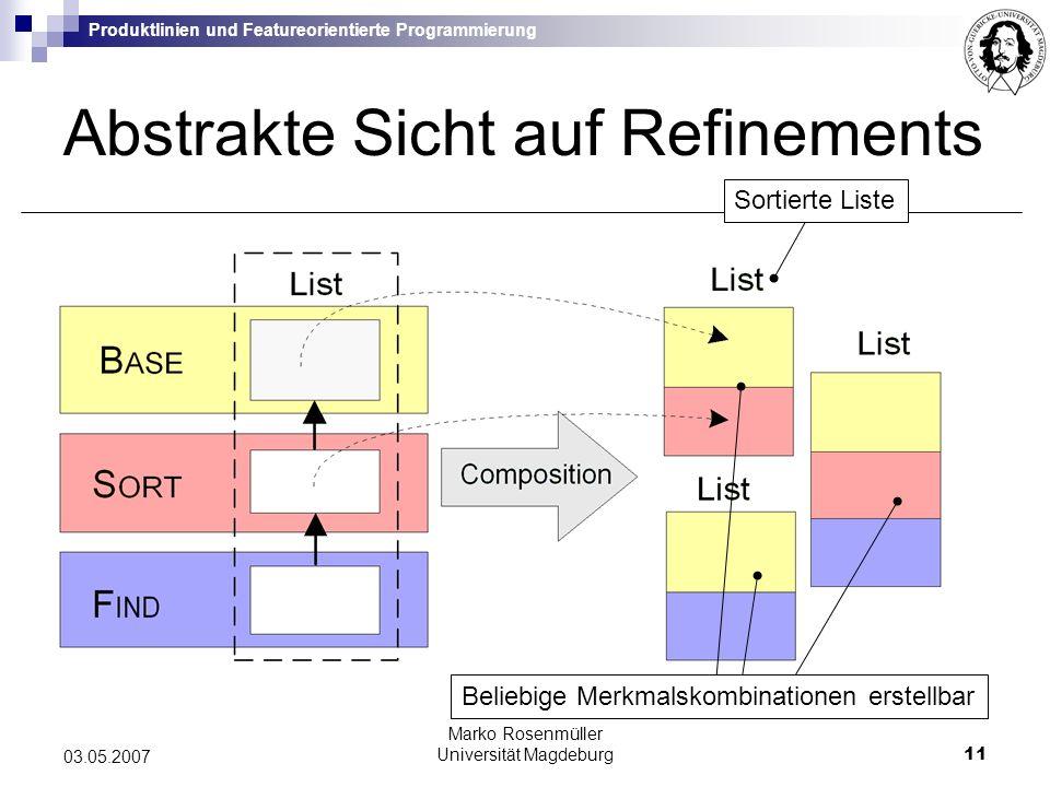 Produktlinien und Featureorientierte Programmierung Marko Rosenmüller Universität Magdeburg11 03.05.2007 Abstrakte Sicht auf Refinements Beliebige Merkmalskombinationen erstellbar Sortierte Liste