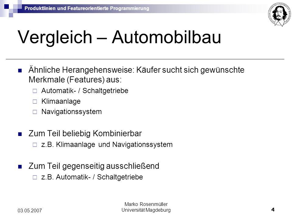 Produktlinien und Featureorientierte Programmierung Marko Rosenmüller Universität Magdeburg5 03.05.2007 Produktlinienentwicklung Automobilbau: Vielzahl möglicher Modelle erstellbar Produktlinie Anwendung auf Software Software Produktlinien Bsp.: Bibliothek von Container-Klassen (Liste, Array, etc.): Sortierung Suche Synchronisation etc.