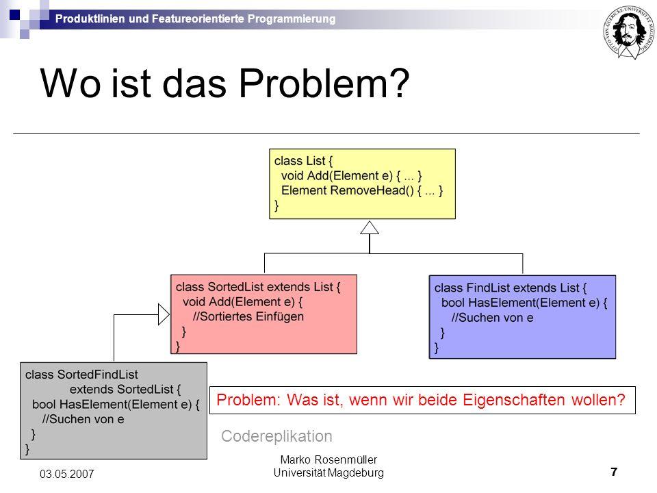Produktlinien und Featureorientierte Programmierung Marko Rosenmüller Universität Magdeburg8 03.05.2007 OOP Abgrenzung von OOP