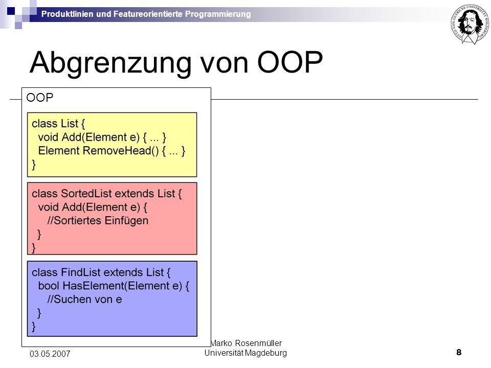 Produktlinien und Featureorientierte Programmierung Marko Rosenmüller Universität Magdeburg9 03.05.2007 FOPOOP Abgrenzung von OOP Schrittweise Erweiterung der Basisimplementierung durch Verfeinerungen (Refinements)
