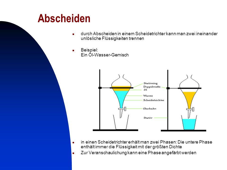 14 Abscheiden durch Abscheiden in einem Scheidetrichter kann man zwei ineinander unlösliche Flüssigkeiten trennen Beispiel: Ein Öl-Wasser-Gemisch in e