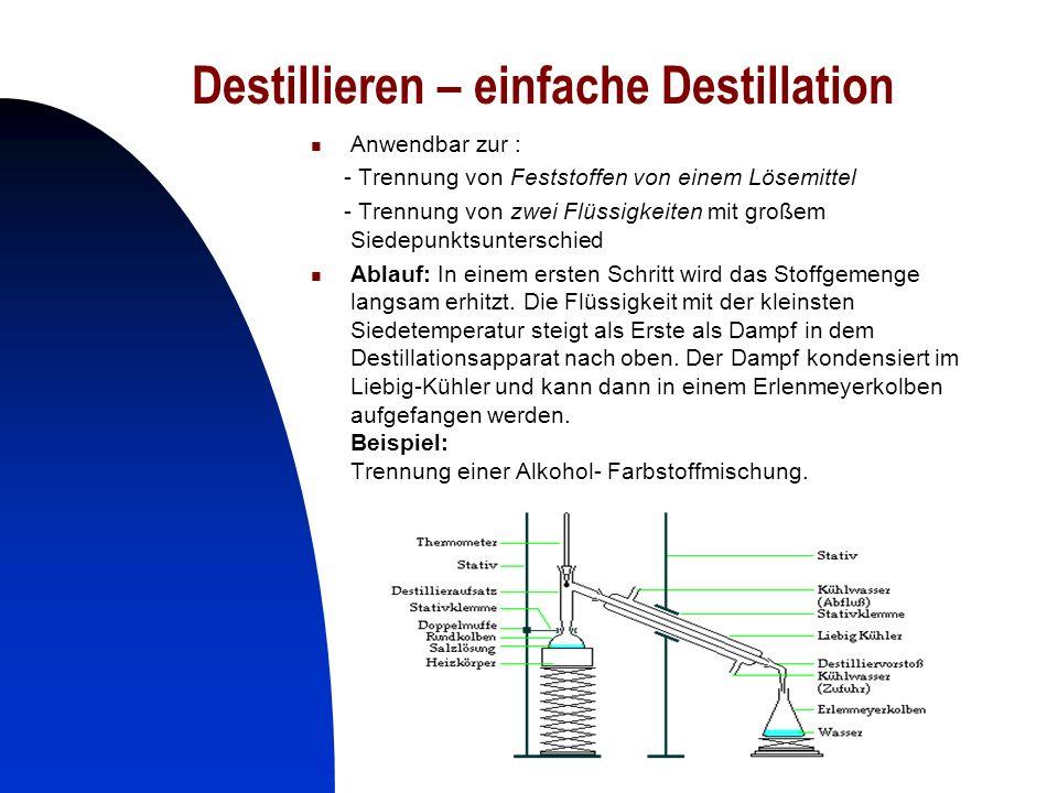 17 Destillieren – einfache Destillation Anwendbar zur : - Trennung von Feststoffen von einem Lösemittel - Trennung von zwei Flüssigkeiten mit großem S