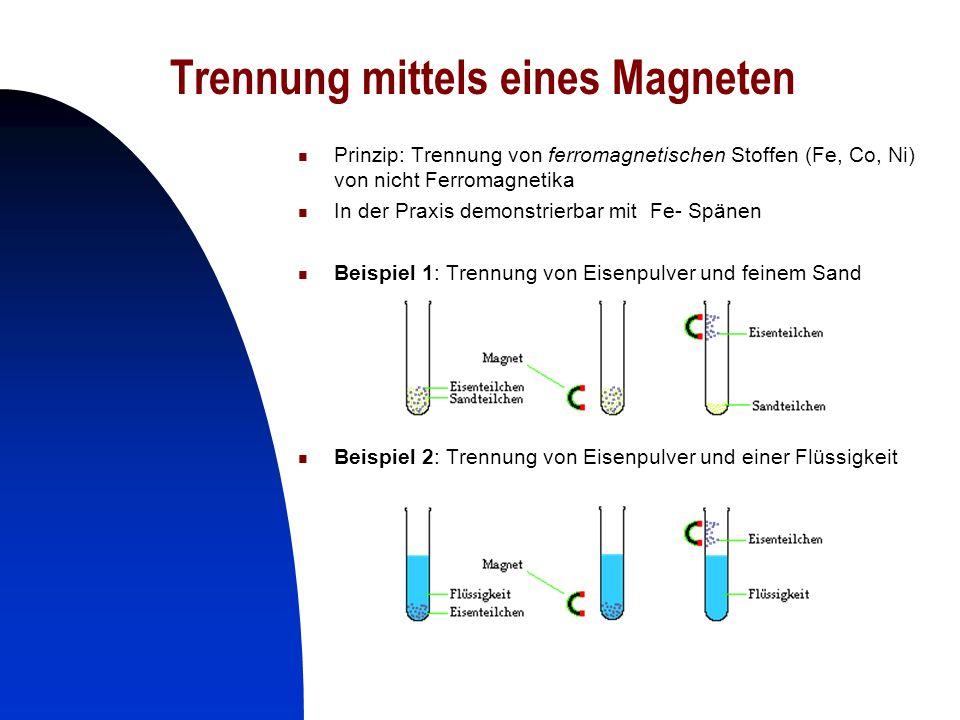 20 Trennung mittels eines Magneten Prinzip: Trennung von ferromagnetischen Stoffen (Fe, Co, Ni) von nicht Ferromagnetika In der Praxis demonstrierbar
