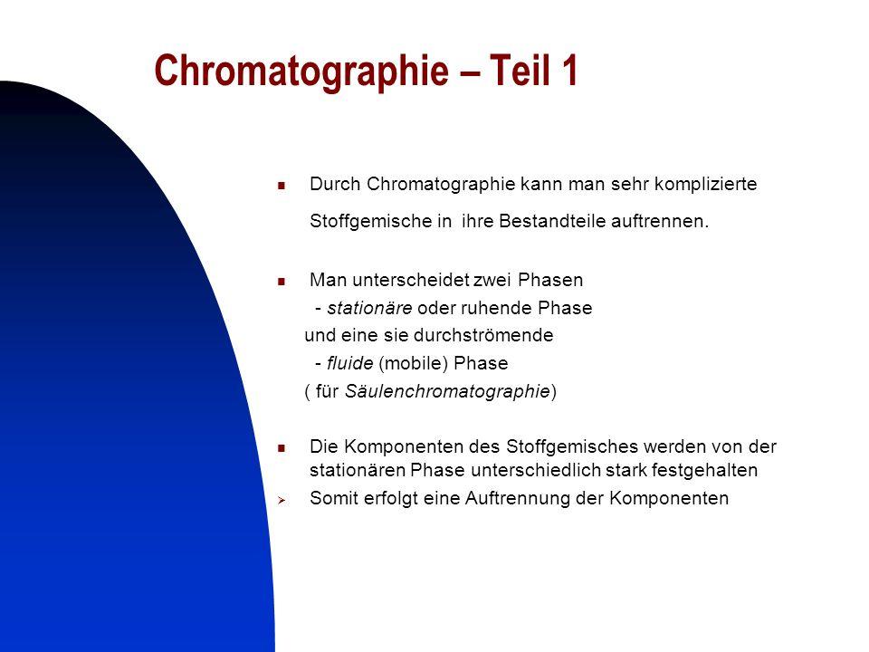 22 Chromatographie- Teil 2 prinzipieller Ablauf: - man bringt eine geringe Menge Gemisch auf Chromatographiepapier und lässt es trocknen -dann gibt man das Chromatographiepapier in einen schließbaren Glasbehälter, welcher ein Fließmittel (Gemisch von Lösungsmitteln) enthält - beim Aufsteigen des Fließmittels werden die verschiedenen Gemischkomponenten unterschiedlich weit mitgerissen - wenn das Fließmittel die obere Markierung erreicht hat, wird die Chromatographie durch Herausnahme aus dem Glasbehälter und anschließendem Trocknen beendet.