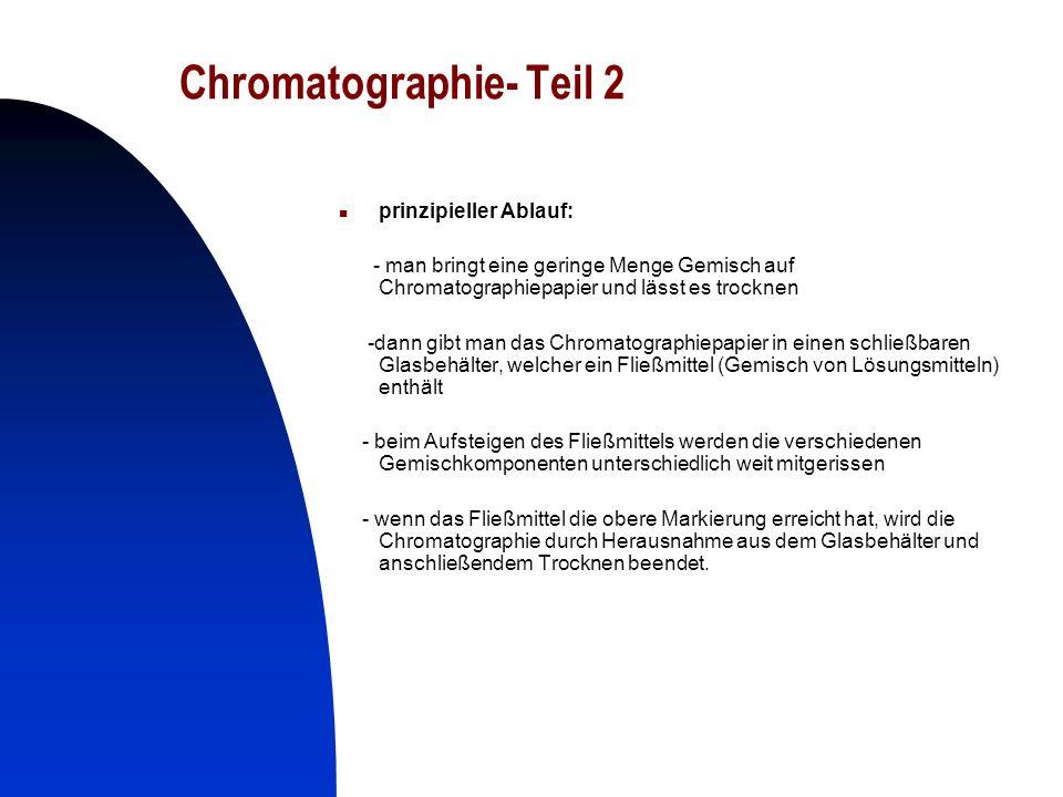 22 Chromatographie- Teil 2 prinzipieller Ablauf: - man bringt eine geringe Menge Gemisch auf Chromatographiepapier und lässt es trocknen -dann gibt ma