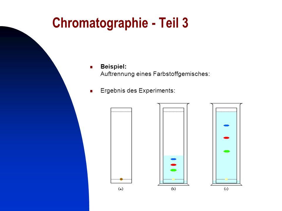 23 Chromatographie - Teil 3 Beispiel: Auftrennung eines Farbstoffgemisches: Ergebnis des Experiments: für Ihr Publikum von Bedeutung?