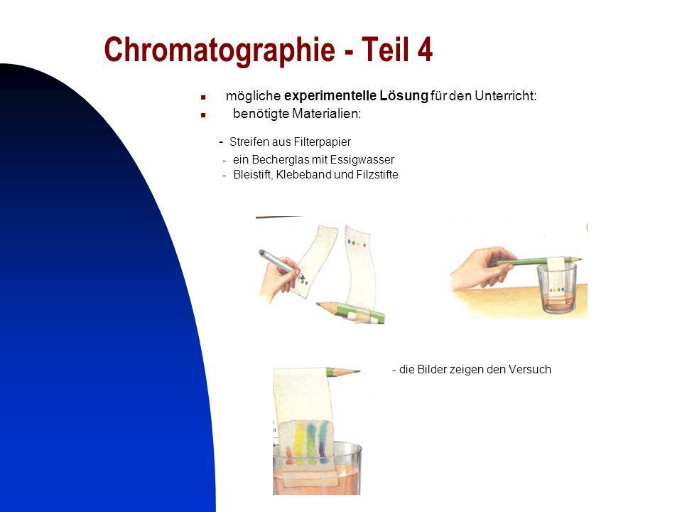 24 Chromatographie - Teil 4 mögliche experimentelle Lösung für den Unterricht: benötigte Materialien: - Streifen aus Filterpapier - ein Becherglas mit