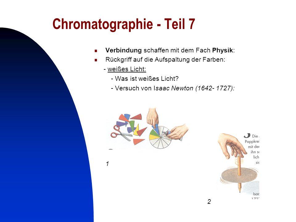 27 Chromatographie - Teil 7 Verbindung schaffen mit dem Fach Physik: Rückgriff auf die Aufspaltung der Farben: - weißes Licht: - Was ist weißes Licht?
