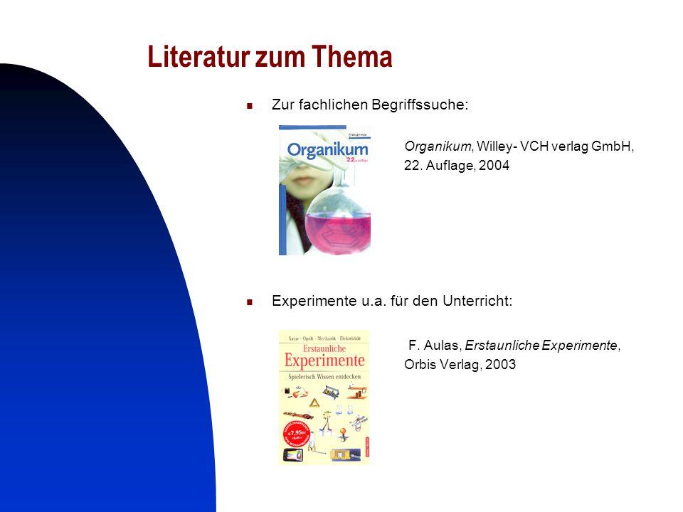 28 Literatur zum Thema Zur fachlichen Begriffssuche: Organikum, Willey- VCH verlag GmbH, 22. Auflage, 2004 Experimente u.a. für den Unterricht: F. Aul