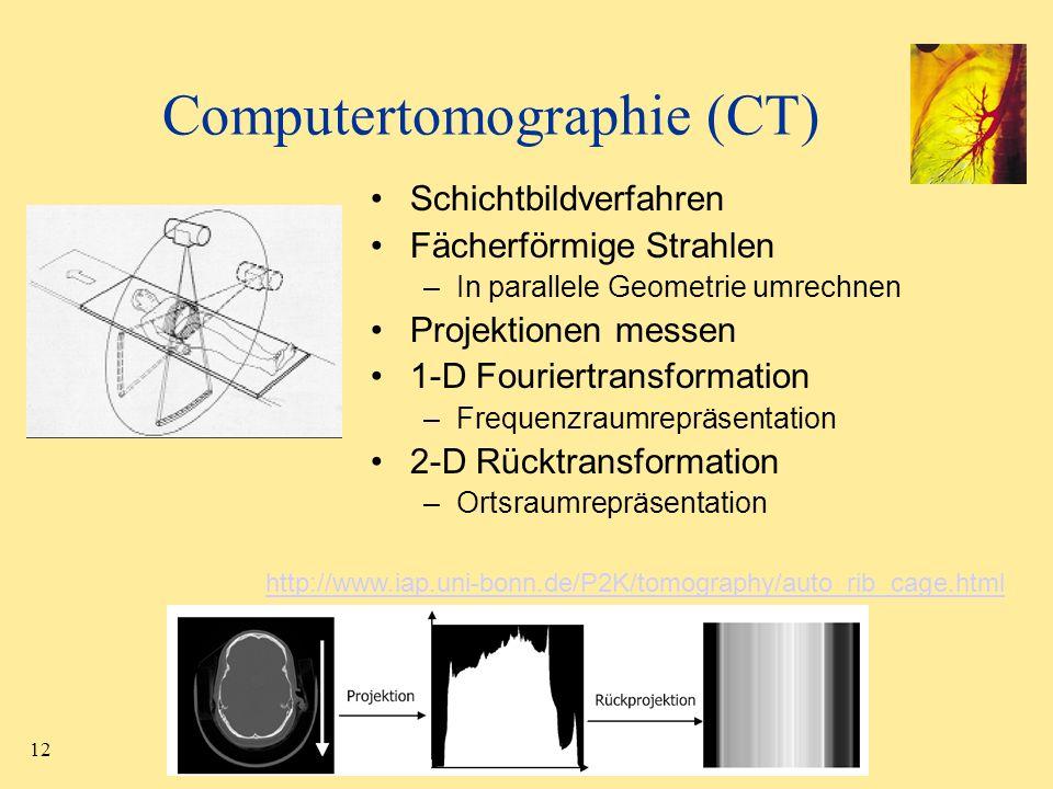 12 Computertomographie (CT) Schichtbildverfahren Fächerförmige Strahlen –In parallele Geometrie umrechnen Projektionen messen 1-D Fouriertransformatio
