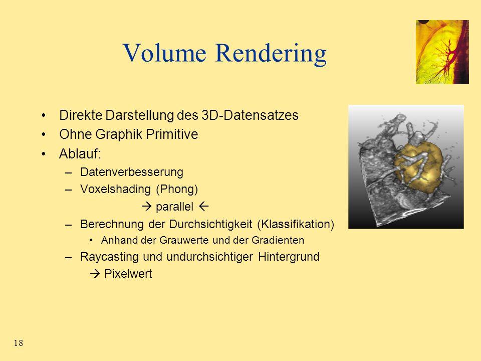 18 Volume Rendering Direkte Darstellung des 3D-Datensatzes Ohne Graphik Primitive Ablauf: –Datenverbesserung –Voxelshading (Phong) parallel –Berechnun