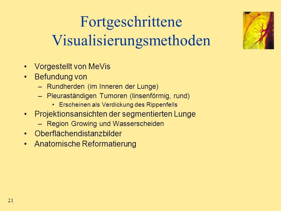 21 Fortgeschrittene Visualisierungsmethoden Vorgestellt von MeVis Befundung von –Rundherden (im Inneren der Lunge) –Pleuraständigen Tumoren (linsenför