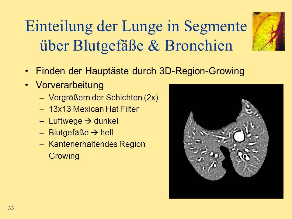 33 Finden der Hauptäste durch 3D-Region-Growing Vorverarbeitung –Vergrößern der Schichten (2x) –13x13 Mexican Hat Filter –Luftwege dunkel –Blutgefäße
